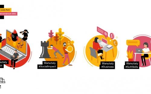Logo pwc i 4 obrazy tematycznie przyporządkowane do warsztatów #Tech, #SocialImpact, #Business oraz #SoftSkills.